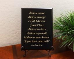Believe in love. Believe in magic. Hell, believe in Santa Claus. Believe in others. Believe in yourself. Believe in your dreams. If you don't, who will? Jon Bon Jovi