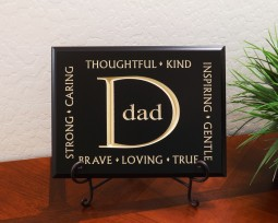 Dad, Thoughtful, Kind, Strong, Caring, Inspiring, Gentle, Brave, Loving, True