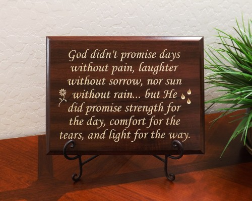 God didn't promise days without pain, laughter without sorrow, nor sun without rain...but He did promise strength for the day, comfort for the tears, and light for the way.